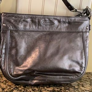 COACH Zoe Gunmetal Metallic Leather Purse F14707